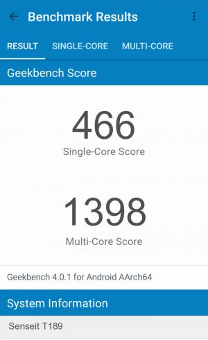 Senseit T189 GeekBench 4 результаты