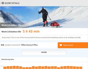 Wiko Sunny 3 Plus PCMark Battery Test результаты