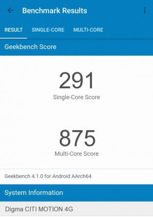 Digma CITI MOTION 4G GeekBench 4 результаты